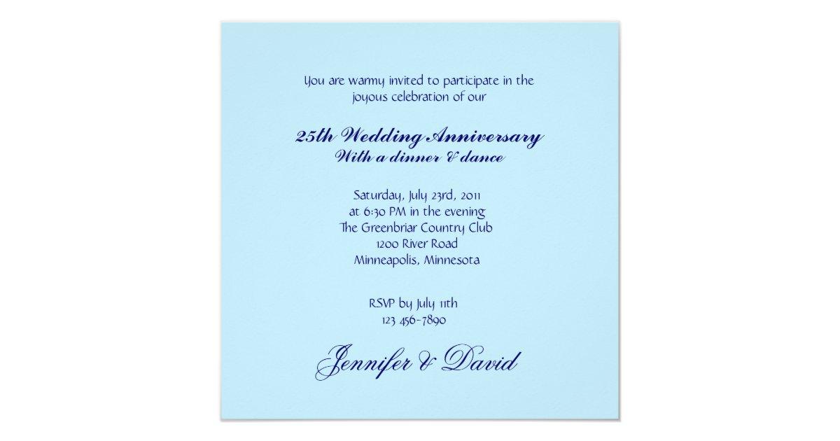 Blue Orchid Wedding Invitations: Blue Orchid 25th Wedding Anniversary Invitation