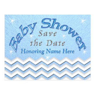 Blue Personalized Save the Date Baby Shower Cards