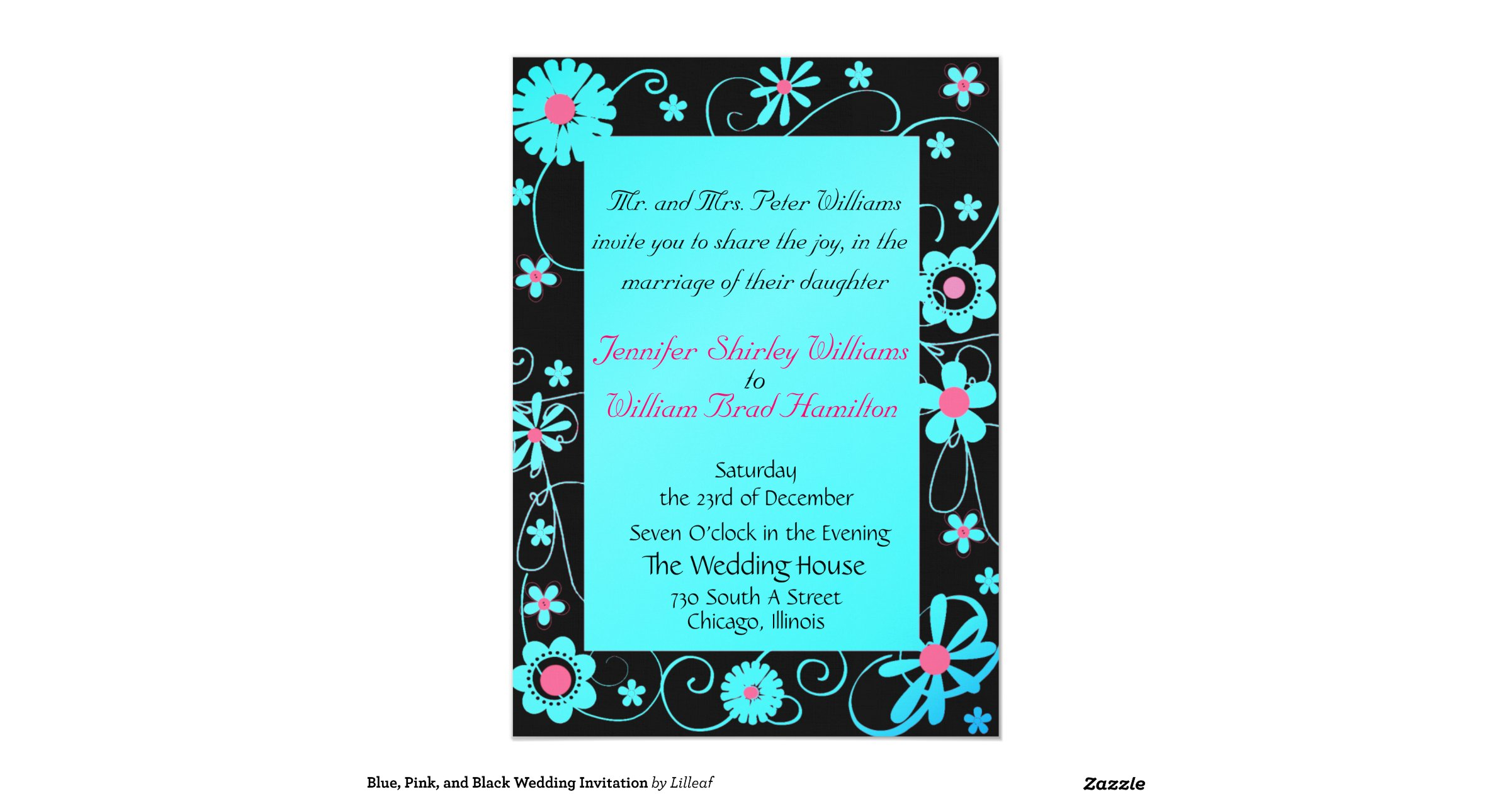 Pink And Black Wedding Invitations: Blue_pink_and_black_wedding_invitation