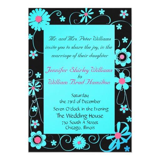 Dark Blue Wedding Invitations: Blue, Pink, And Black Wedding Invitation