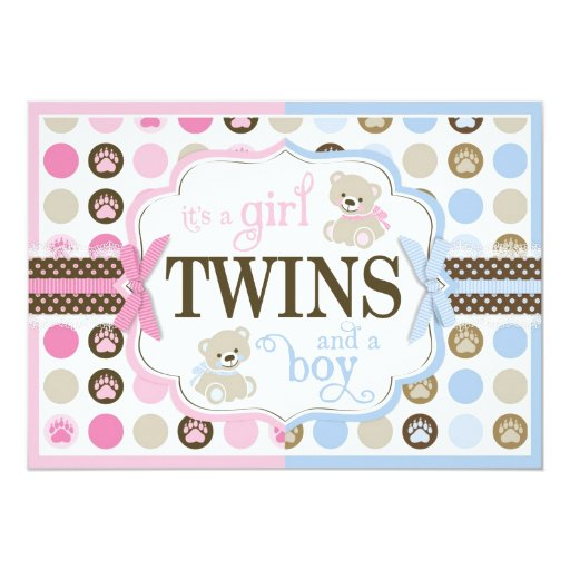Pink Teddy Bear Baby Shower: Blue & Pink Teddy Bears Twins Baby Shower Card