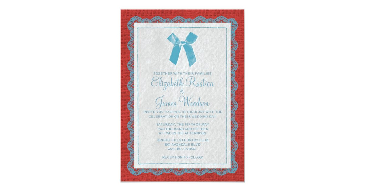 Red White And Blue Wedding Invitations: Blue & Red Country Burlap Wedding Invitations