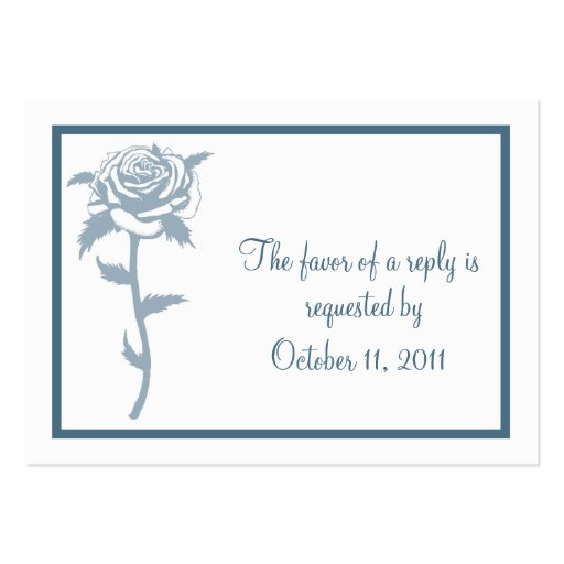 blue rose wedding rsvp reply card business card template. Black Bedroom Furniture Sets. Home Design Ideas