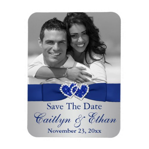 Blue Silver Hearts Save The Date Photo Magnet Zazzle