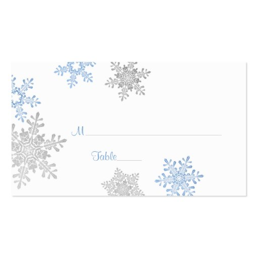 blue silver snowflake winter wedding place cards double. Black Bedroom Furniture Sets. Home Design Ideas