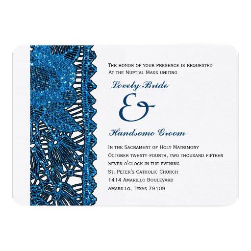 Catholic Wedding Invitations: Blue Spangled Lace Catholic Wedding Invitation