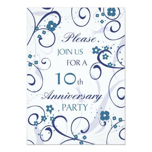 15th Wedding Anniversary Party Ideas: Blue Swirls 10th Anniversary Party Invitation Card