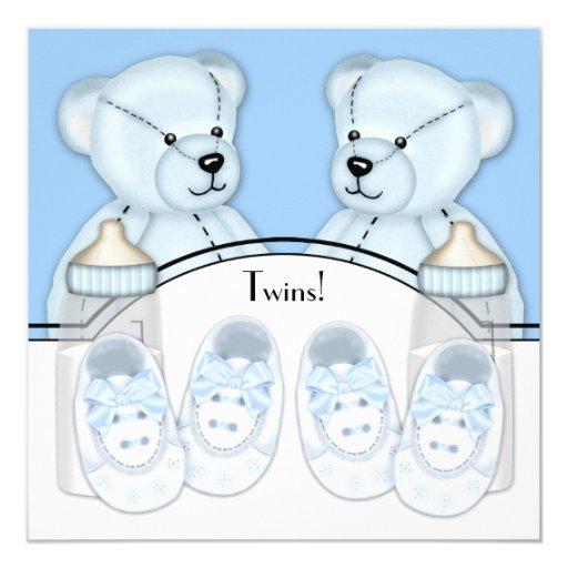 Blue Teddy Bear Twin Boys Baby Shower Card Zazzle
