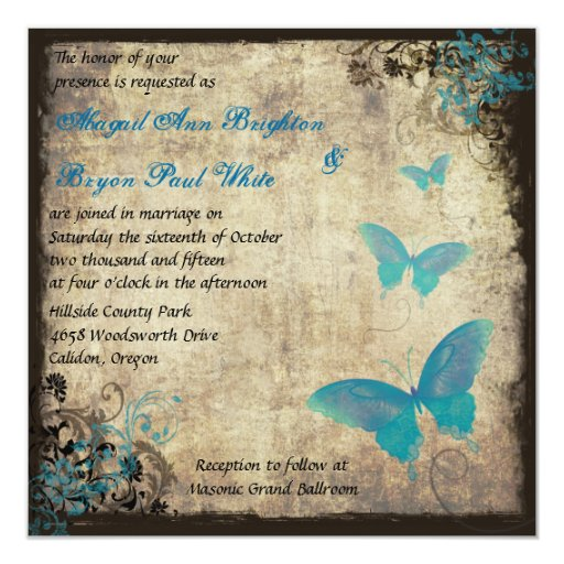 Butterfly Themed Wedding Invitations: Blue Vintage Butterfly Wedding Invitation