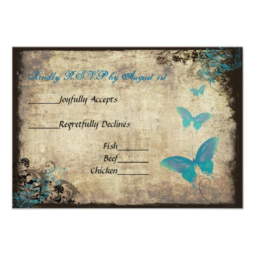 "Blue Vintage Butterfly Wedding RSVP Card 3.5"" X 5"