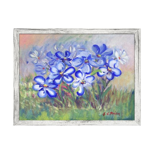 Blue Wildflowers Painting Stretched Canvas Print