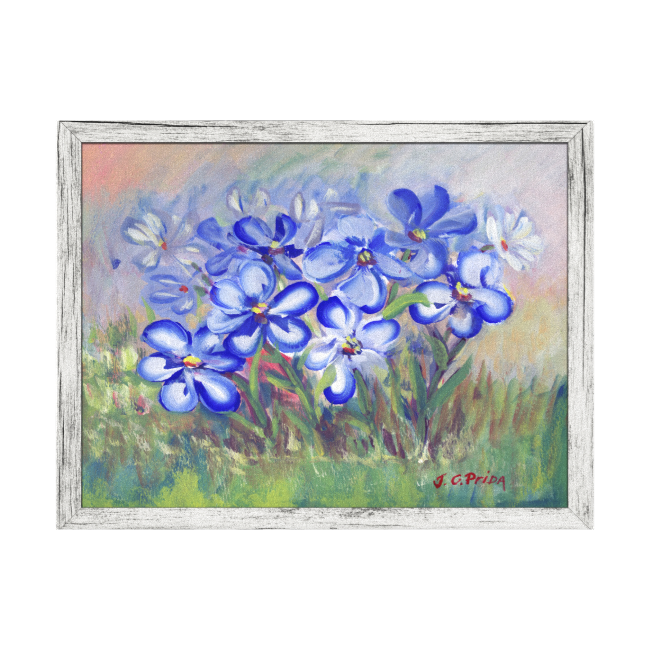 Blue Wildflowers in a Field Fine Art Painting Stretched Canvas Print