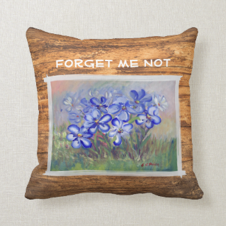 Blue Wildflowers in a Field Fine Art Painting Pillows