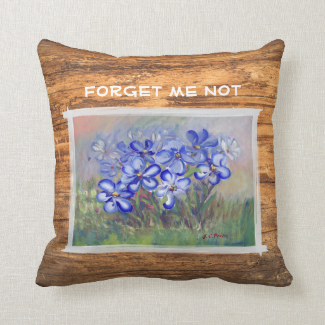 Blue Wildflowers in a Field Fine Art Painting Throw Pillows