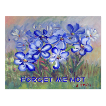 Blue Wildflowers in a Field Fine Art Painting Post Card