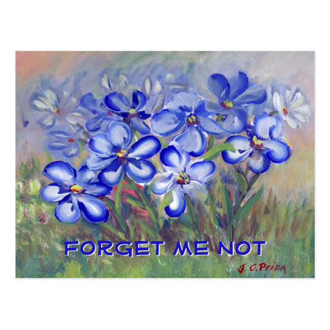 Blue Wildflowers in a Field Fine Art Painting Post Cards