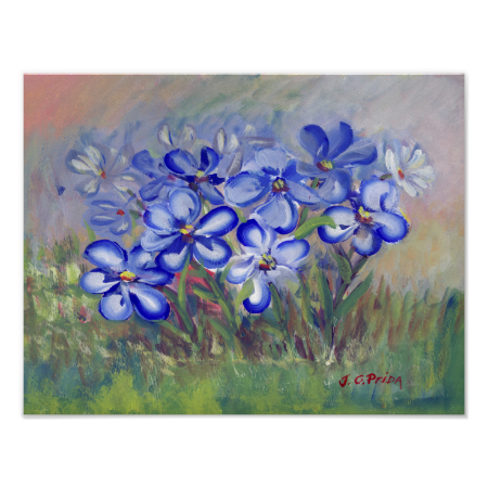 Blue Wildflowers in a Field Fine Art Painting Print
