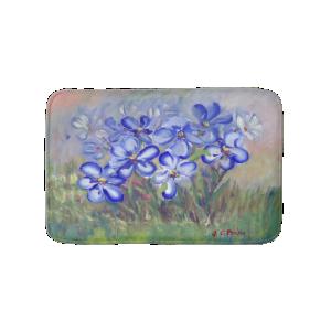 Blue Wildflowers in a Field Fine Art Painting Bath Mats