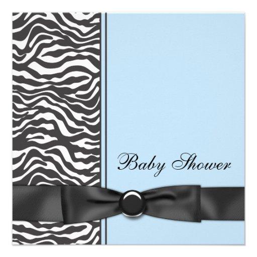 Blue Zebra Boy Baby Shower 5.25x5.25 Square Paper ...