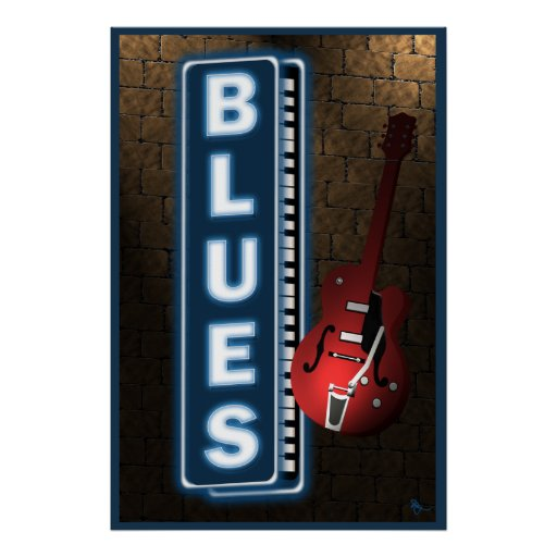 Blues Neon Sign Poster Zazzle