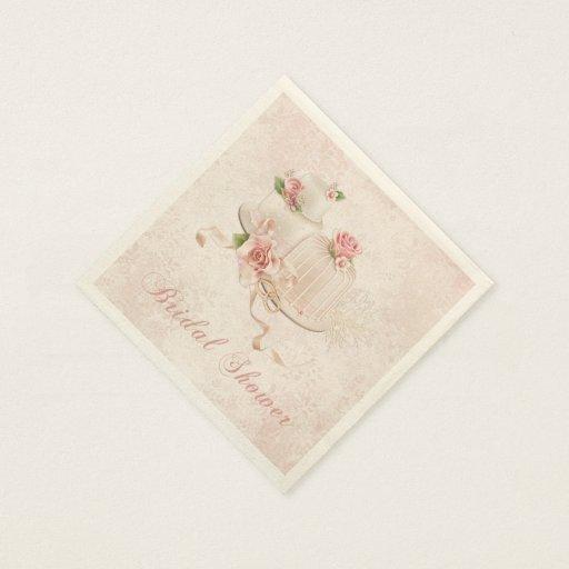 blush wedding cakes with roses bridal shower paper napkin zazzle. Black Bedroom Furniture Sets. Home Design Ideas