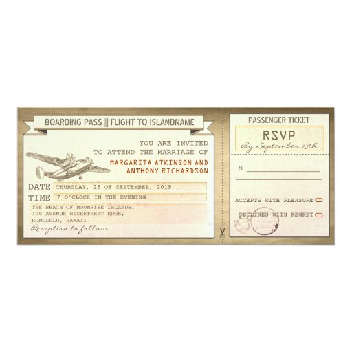 Plane Ticket Wedding Invitations: Boarding Pass Tickets -vintage Wedding Invitations