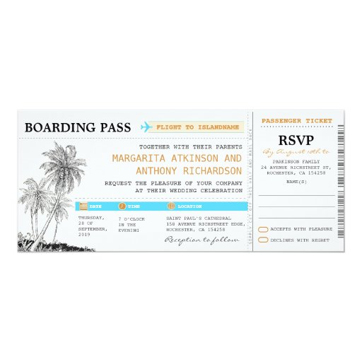 "Boarding Pass Wedding Tickets With RSVP Together 4"" X 9.25"