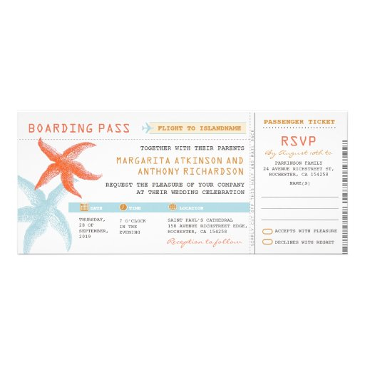 Boarding Pass Wedding Tickets With RSVP Together Custom