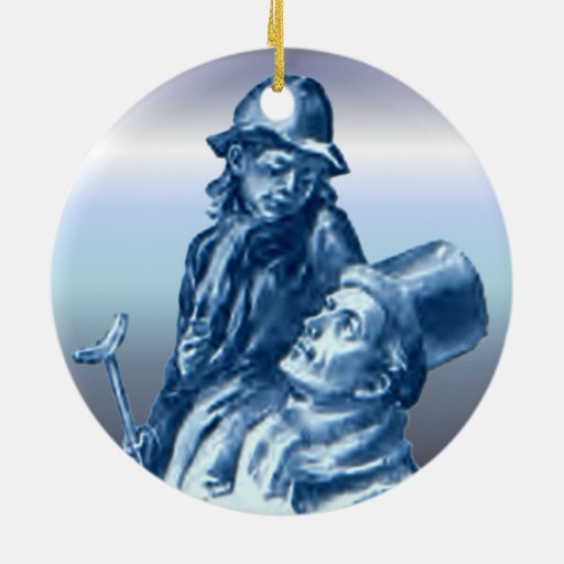 Tiny Tim A Christmas Carol: Bob Cratchit And Tiny Tim Christmas Carol Ceramic Ornament