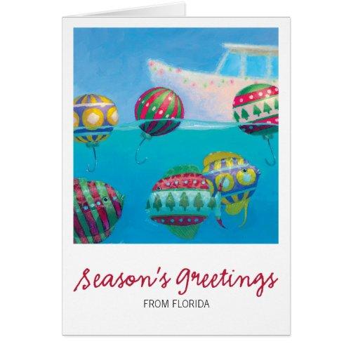 Bobber Fish Bulbs Christmas card