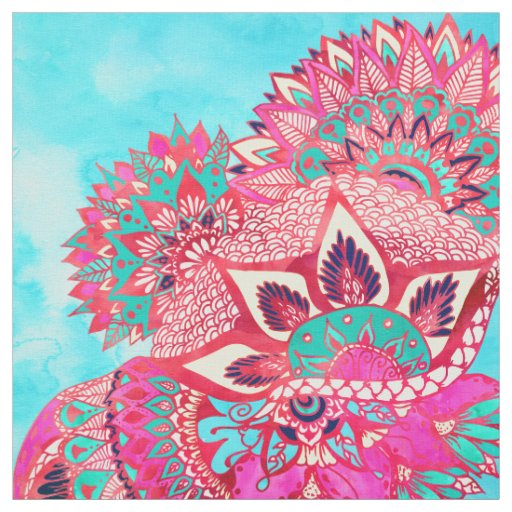 Bohemian boho red blue floral paisley pattern fabric | Zazzle