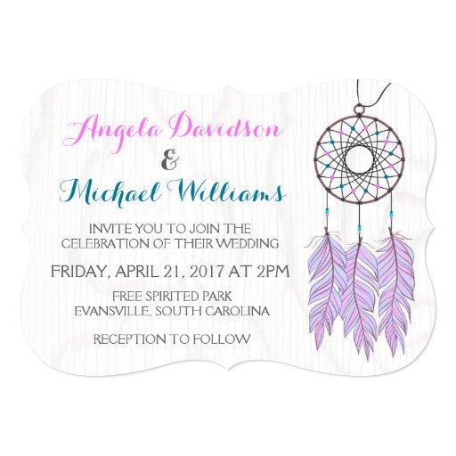 Native American Wedding Invitations: Bohemian Dreamcatcher Rustic Wedding Invitation