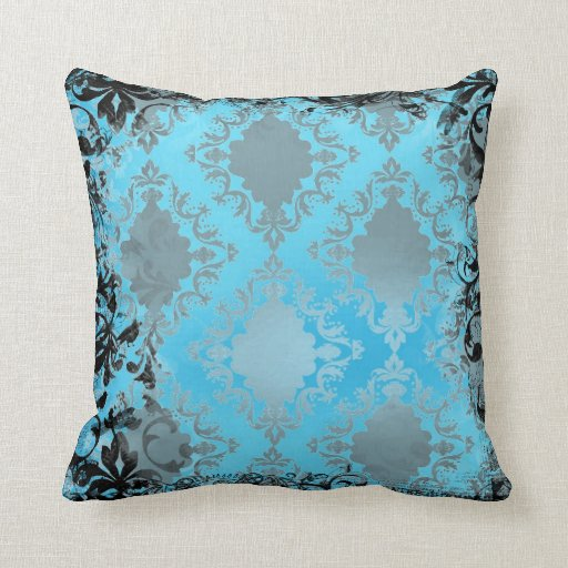 Boho Chic Blue And Black Vintage Throw Pillow