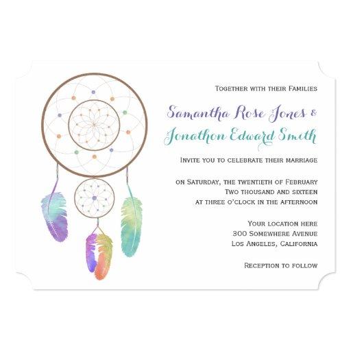 Native American Wedding Invitations: Boho Dreamcatcher Wedding Invitation