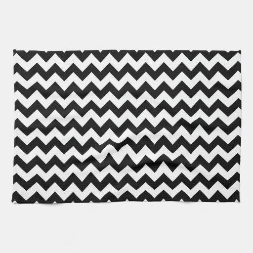 Zig Zag Kitchen: Bold Black & White Chevron Zig Zag Pattern Kitchen Towel