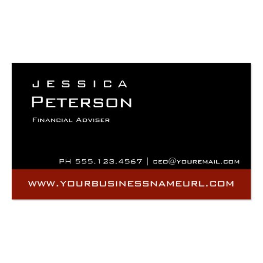 Bold Color Red Financial Advisor Business Cards