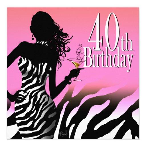Bombshell Zebra 40th Birthday Party Dress Pink 5.25x5.25