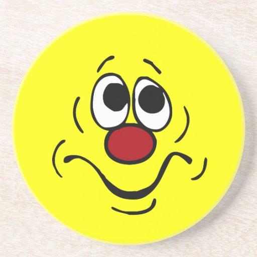Bored Smiley Face Grumpey Beverage Coaster | Zazzle