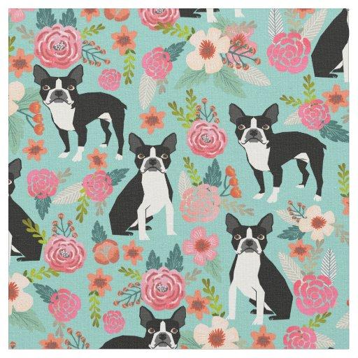 Boston Terrier Florals Fabric Cute Fabric Design Zazzle