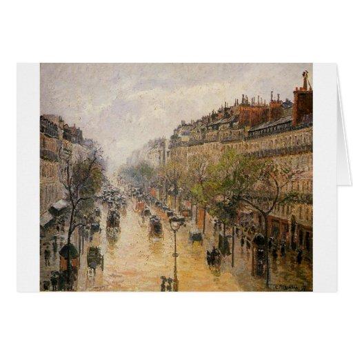 boulevard montmartre spring rain camille pissarro card zazzle. Black Bedroom Furniture Sets. Home Design Ideas