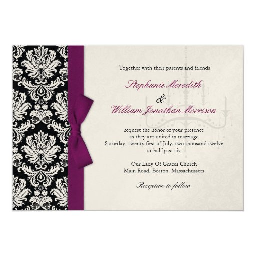 Chandelier Wedding Invitations: Bow And Chandelier Damask Wedding Invitation