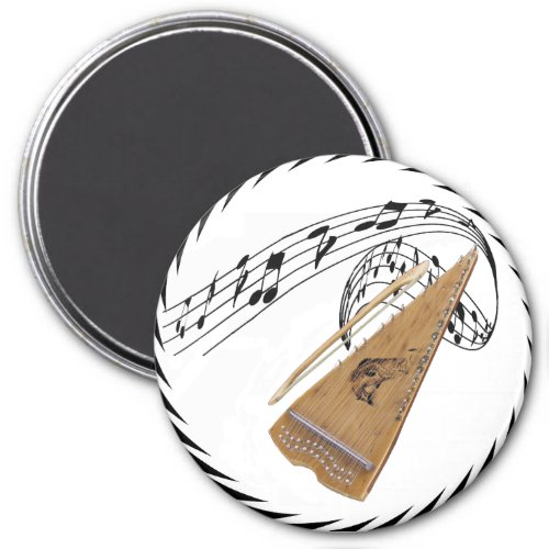 Bowed Psaltery Surrounded by Music Notes Round Magnet