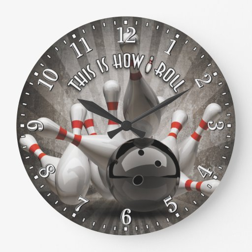 Bowling Ball Pins Man Cave Wall Clock Zazzle