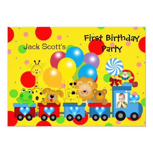 Boy First Birthday 1st Train Photo Zoo Animals 4.5x6.25