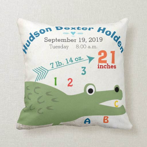 Boy Nursery Baby Birth Stat Alligator Cute Arrow Throw