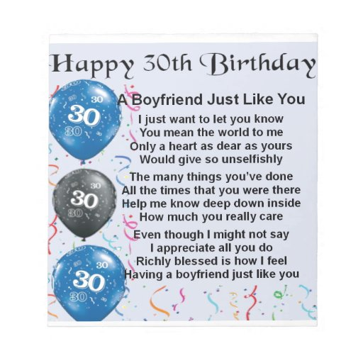 Boyfriend Poem 30th Birthday Notepad