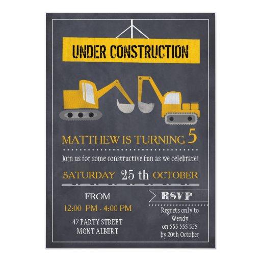 Boys Chalkboard Construction Birthday Invitation