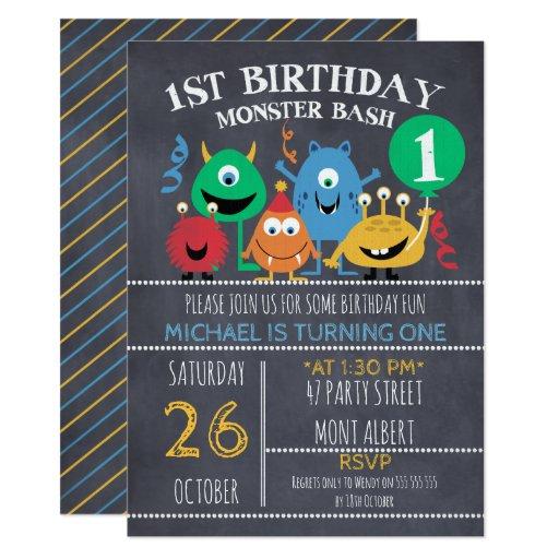 First Birthday Party Invitation Boy Chalkboard: Boys Chalkboard Monsters 1st Birthday Invitation