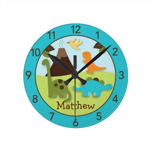 Boys Dinosaur Personalized Nursery Wall Clock Zazzle