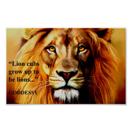 "Boy's Inspirational ""Lion"" Cub Poster By GODDESSY"